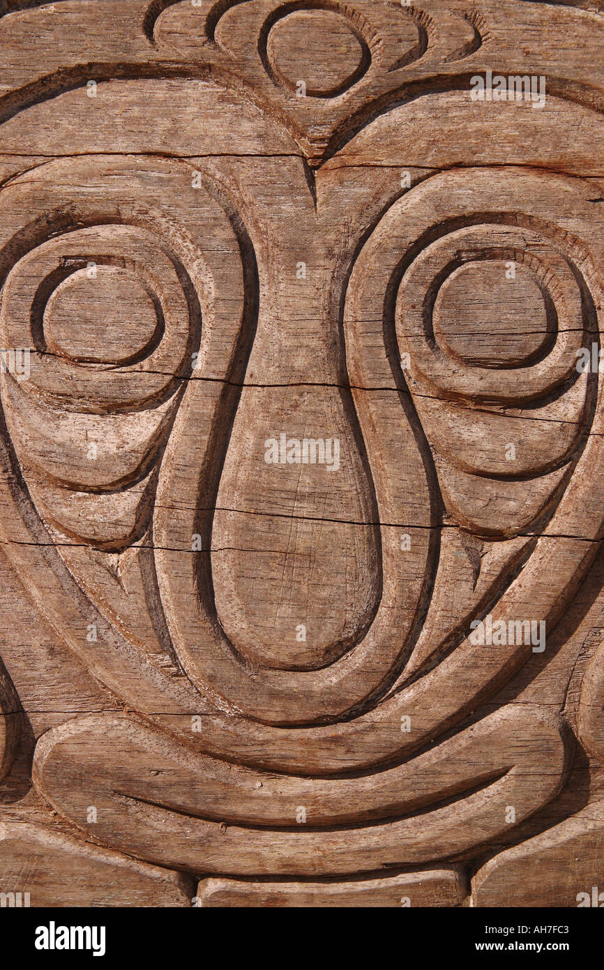 Papua New Guinea Carved face - Stock Image