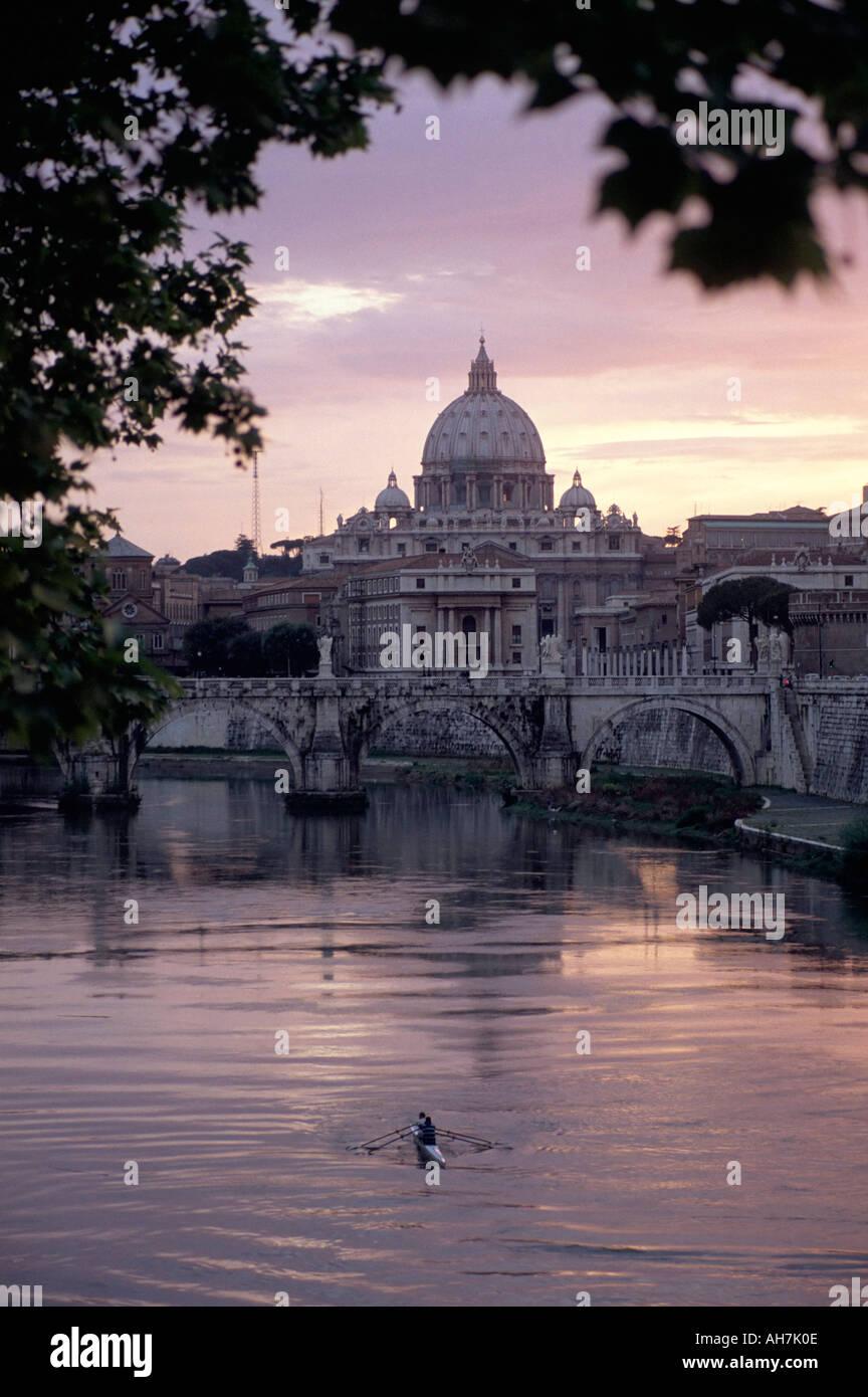 Skyline of St Peter s from Ponte Umberto Rome Lazio Italy Europe - Stock Image