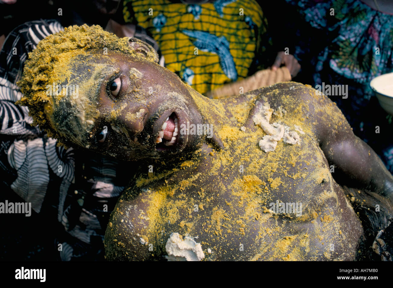 Man in trance during voodoo ceremony Abomey Benin Dahomey Africa - Stock Image