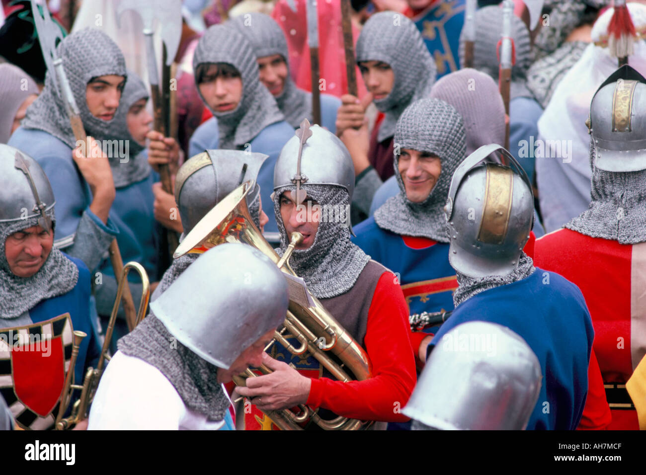 Middle Ages festival held on 7th August Port de La Flotte Ile de Re Charente Maritime France Europe - Stock Image