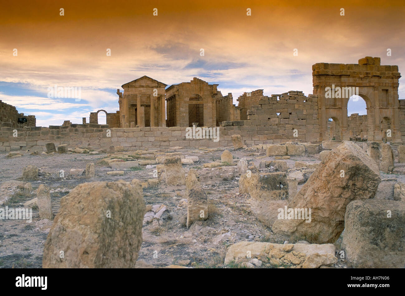 Capitol with three separate temples to Jupiter Minerva and Juno archaeological site of Sbeitla Sufetula Tunisia North Africa Afr - Stock Image