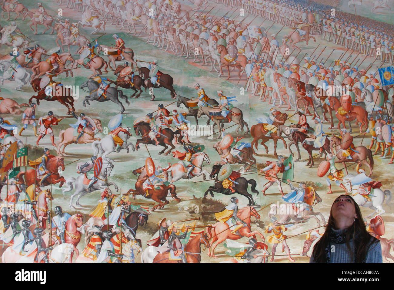 San Lorenzo de El Escorial Madrid Province Spain Section of mural in Hall of Battles - Stock Image