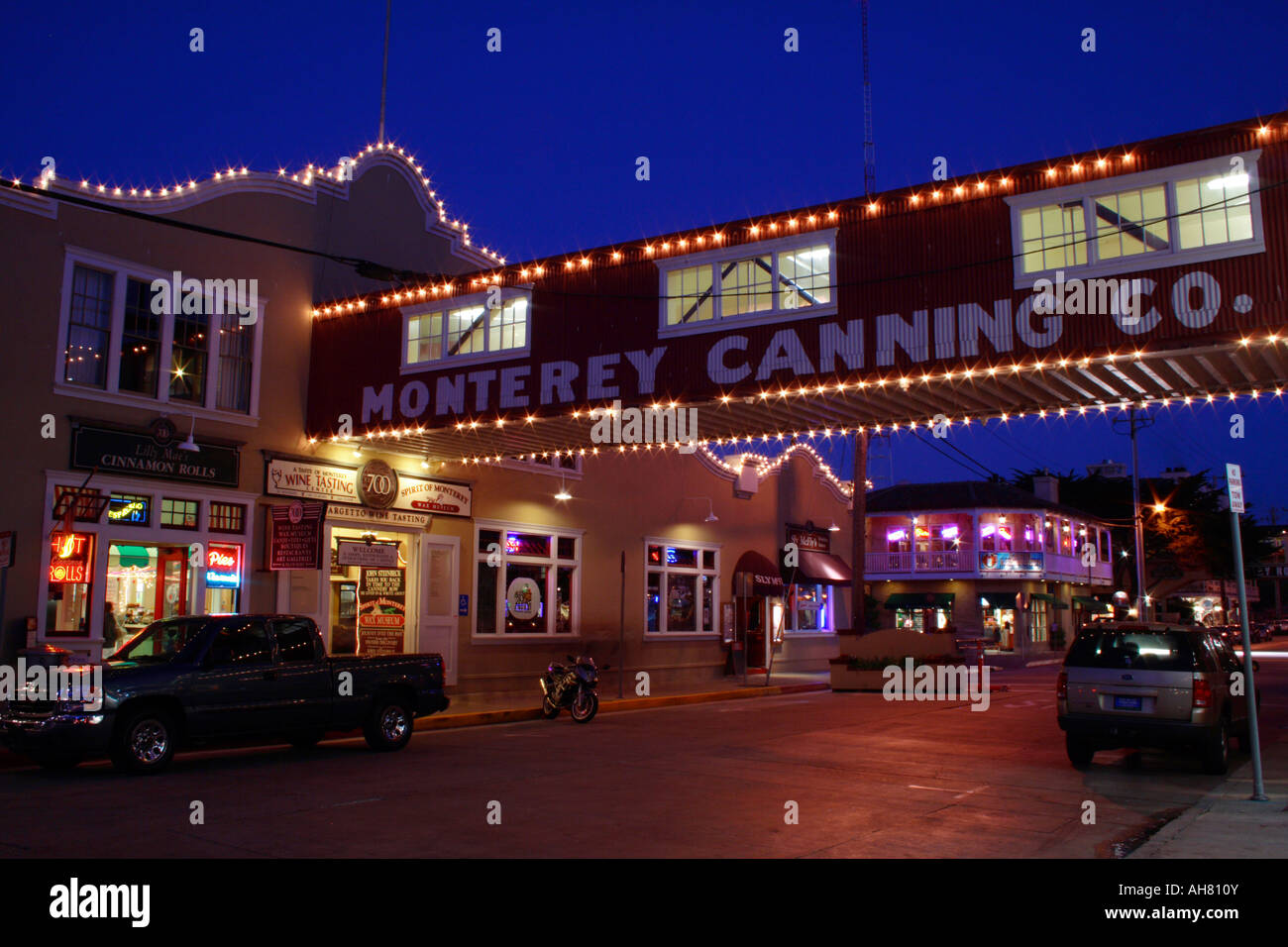 Cannery Row at night Stock Photo