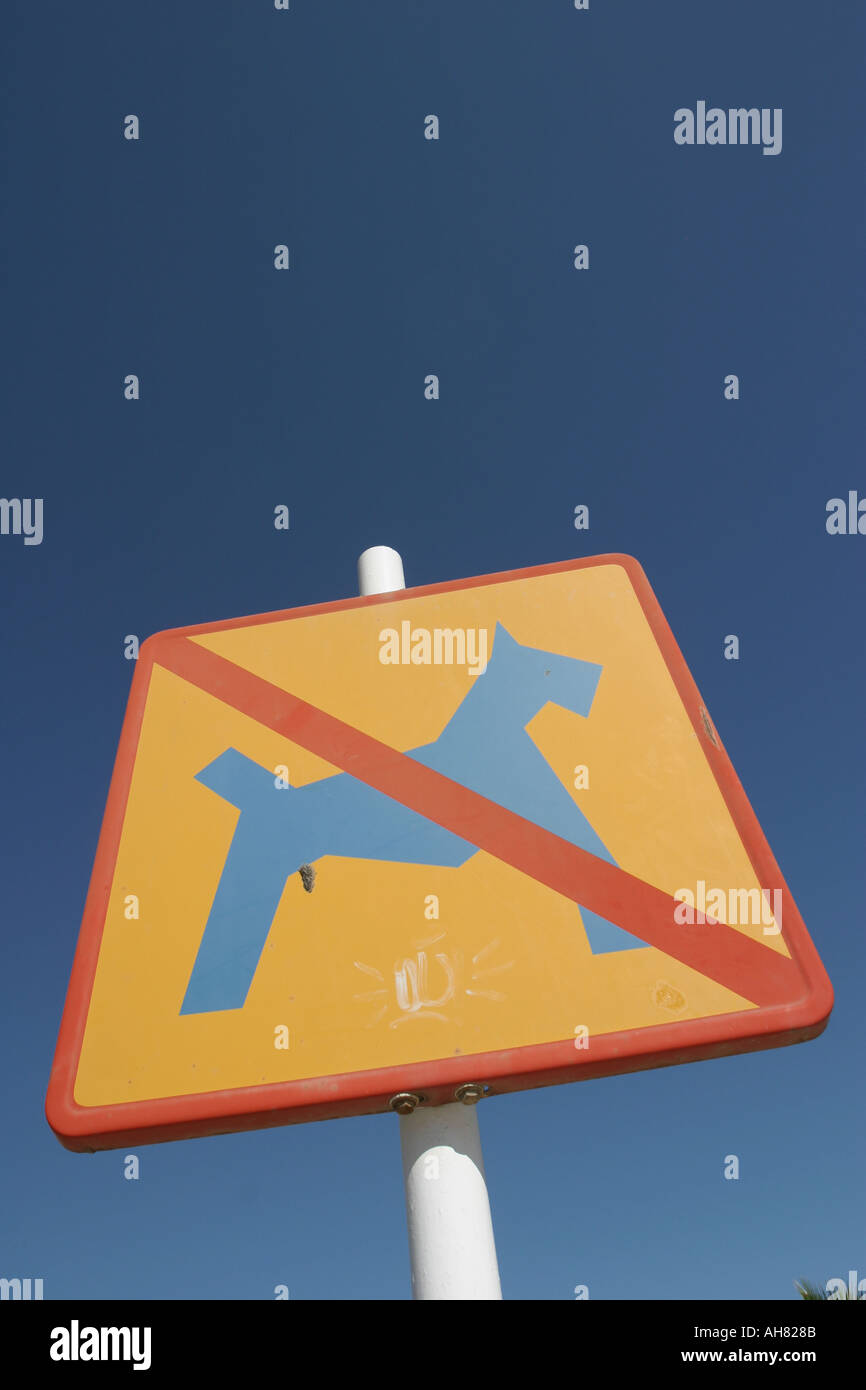 Street sign signalling no dogs permitted - Stock Image