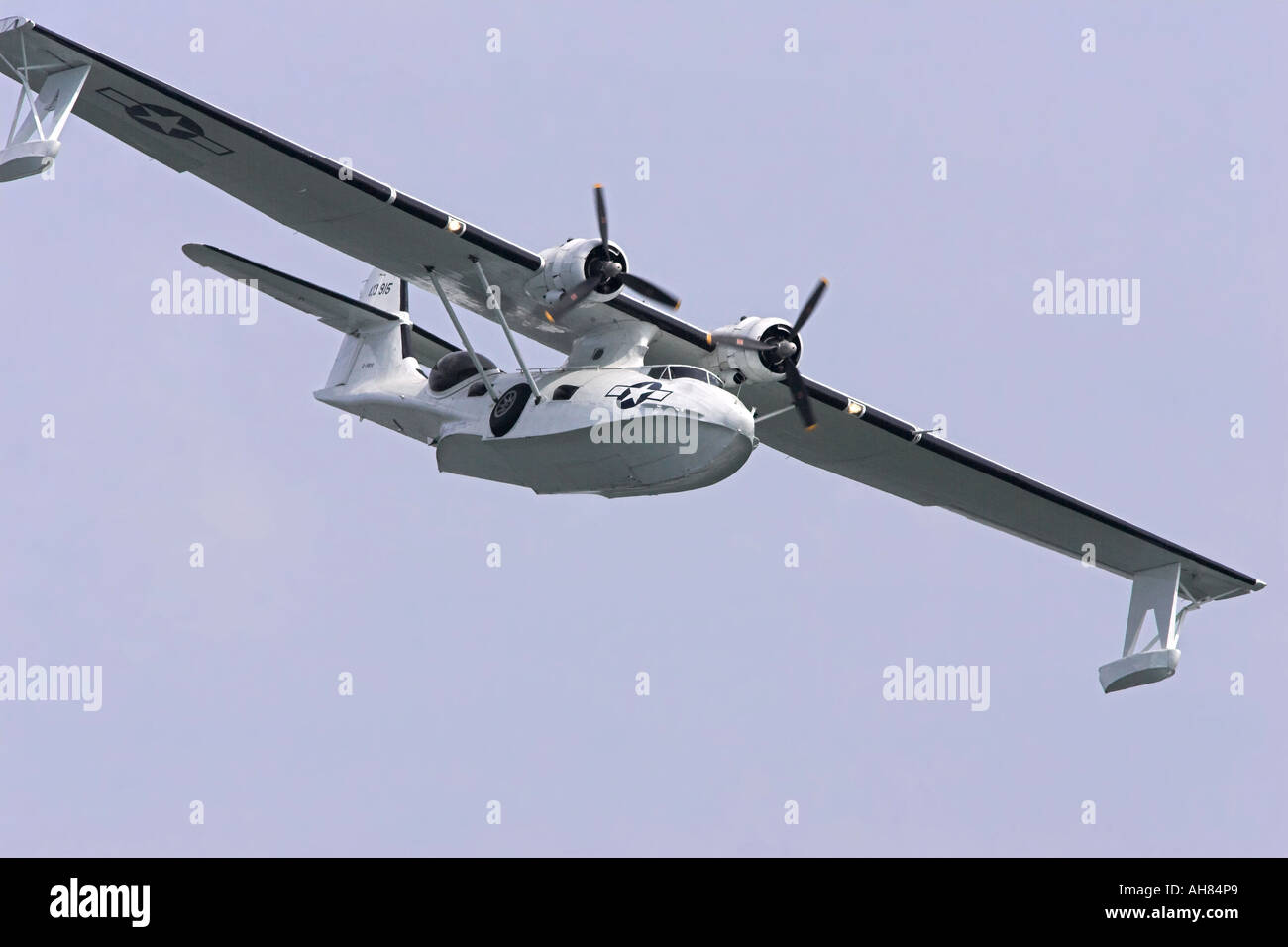 consolidated pby catalina flying boat sea float - Stock Image