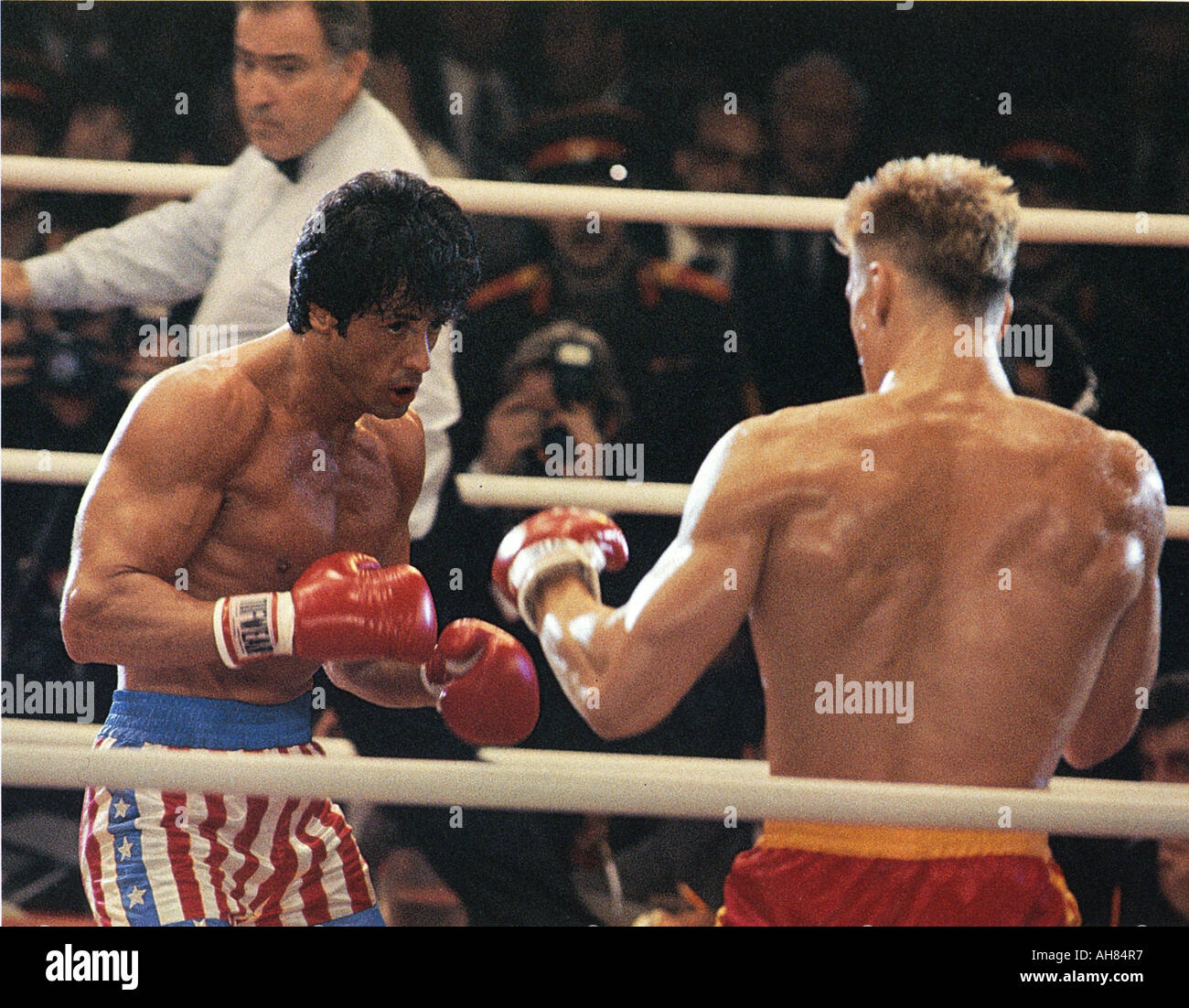 ROCKY IV 1985 MGM UA film with Sylvester Stallone and Dolph Lundgren Stock Photo