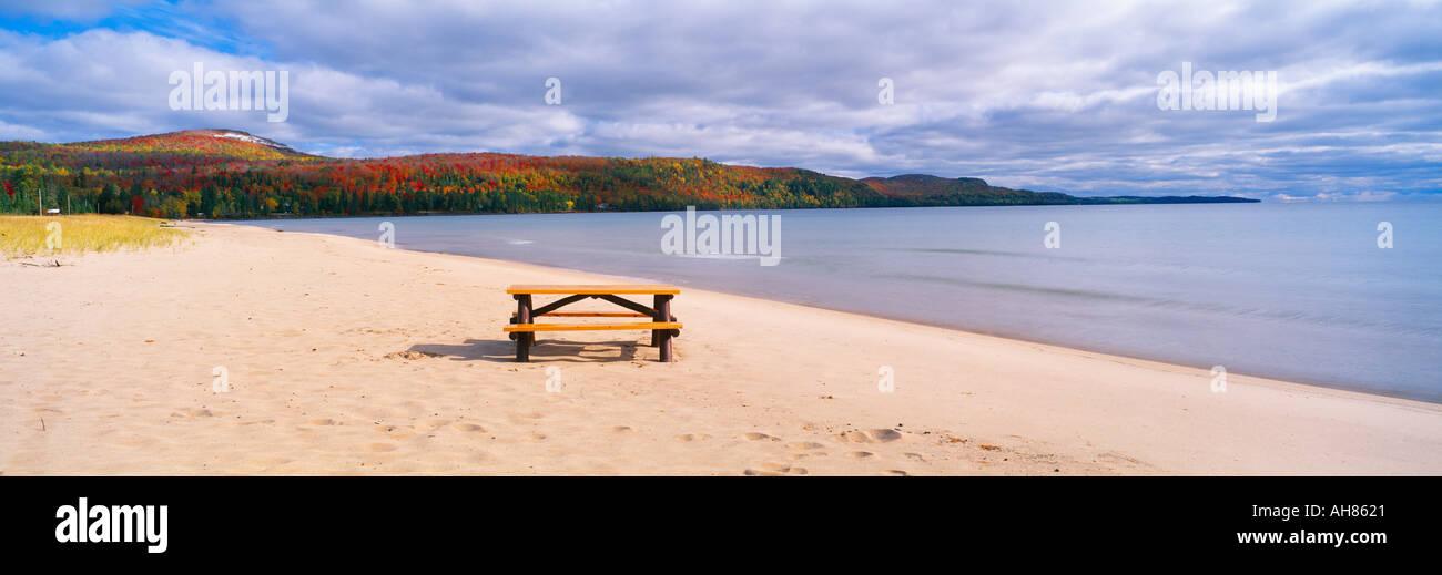 Picnic Table On Beach At Keweenaw Bay Lake Superior Michigan Stock - Picnic table michigan