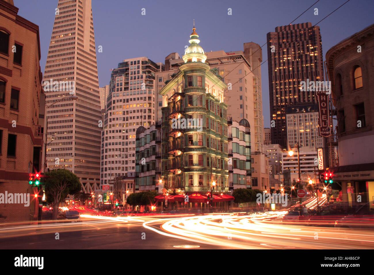Sentinel Building at night, San Francisco Stock Photo