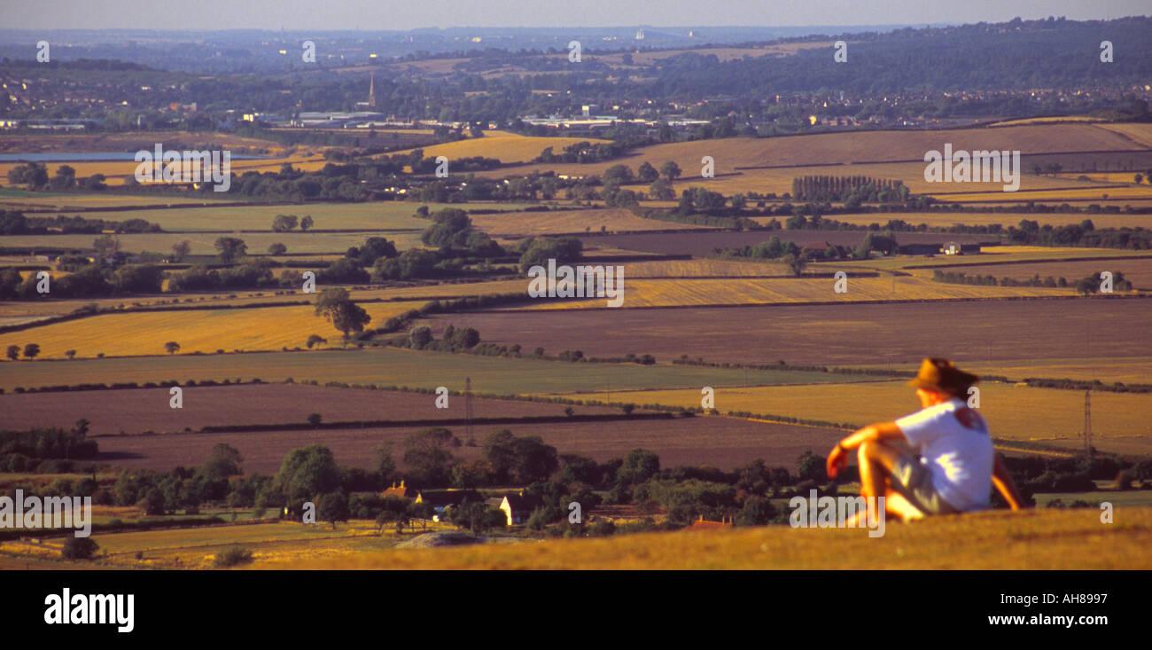 Ivinghoe Beacon view over Vale of Aylesbury - Buckinghamshire - Stock Image