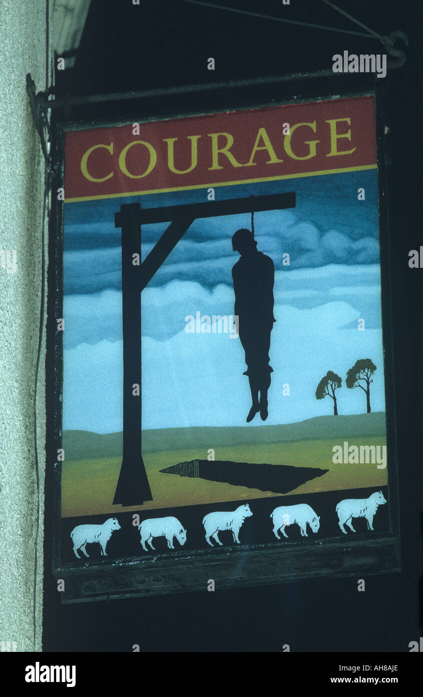 Cannards Grave Inn sign on the Pub south of Shepton Mallet Somerset depicting the hanging of Giles Cannard - Stock Image