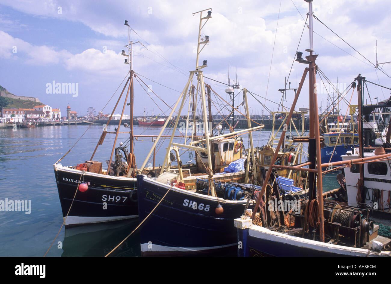 Scarborough Yorkshire fishing vessels boats town - Stock Image