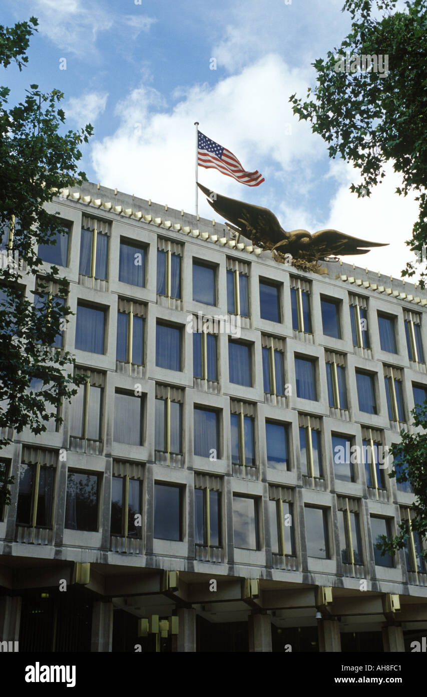 The American Embassy at Grosvenor Square in London - Stock Image