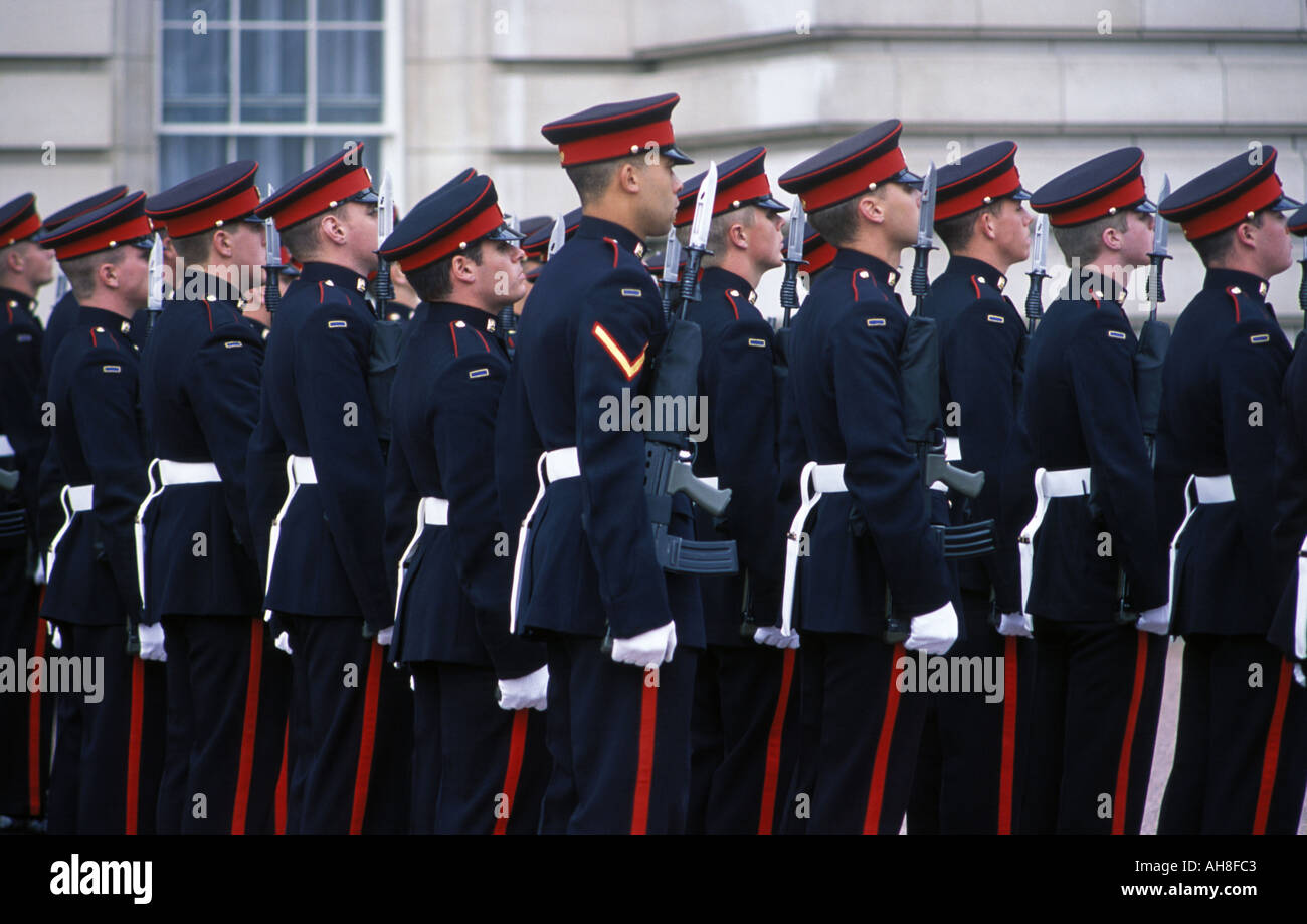 British soldiers taking part in the Changing of the Guard ceremony outside Buchingham Palace in London Stock Photo