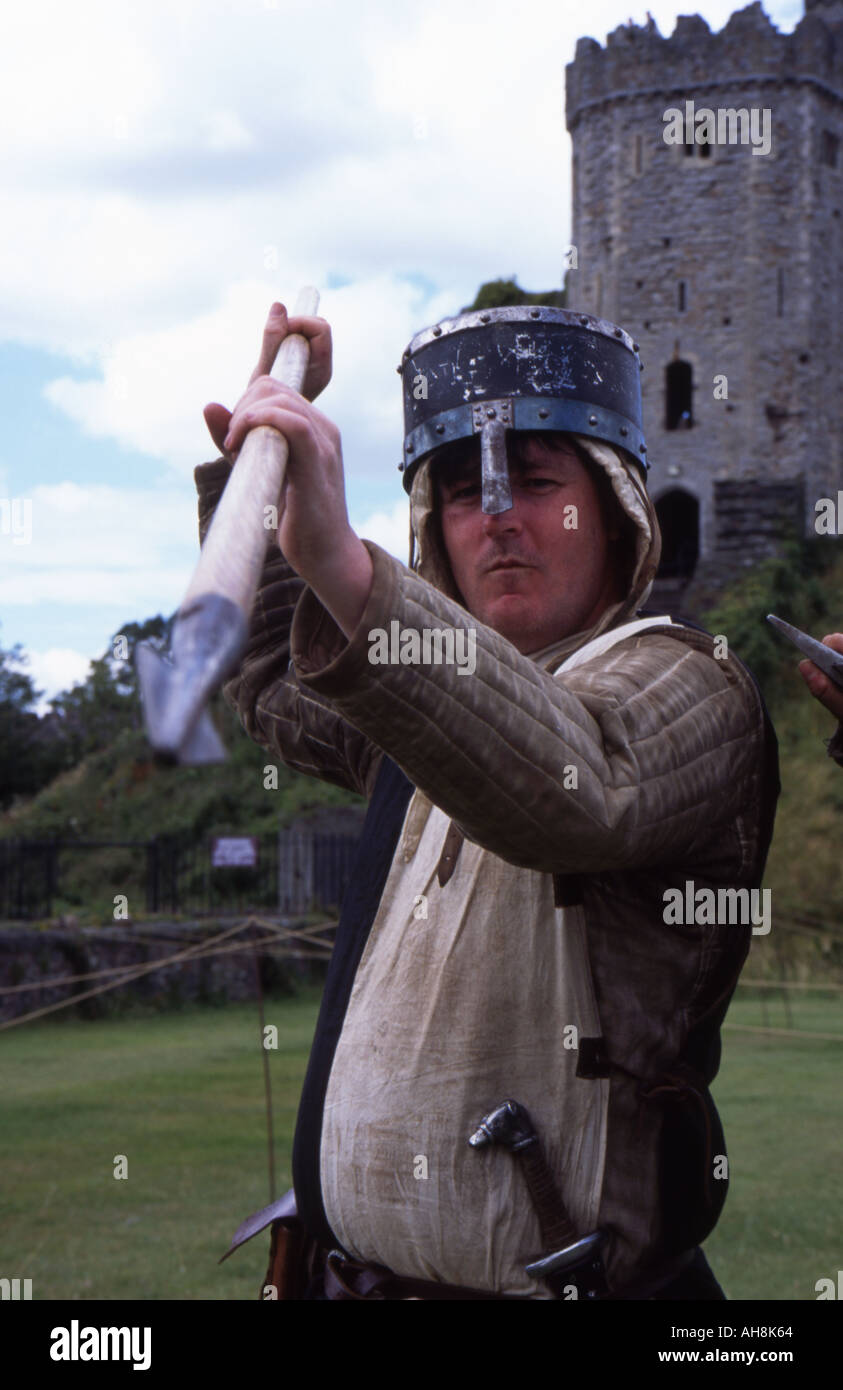 A medieval soldier demonstrates the use of a lance at Cardiff Castle - Stock Image