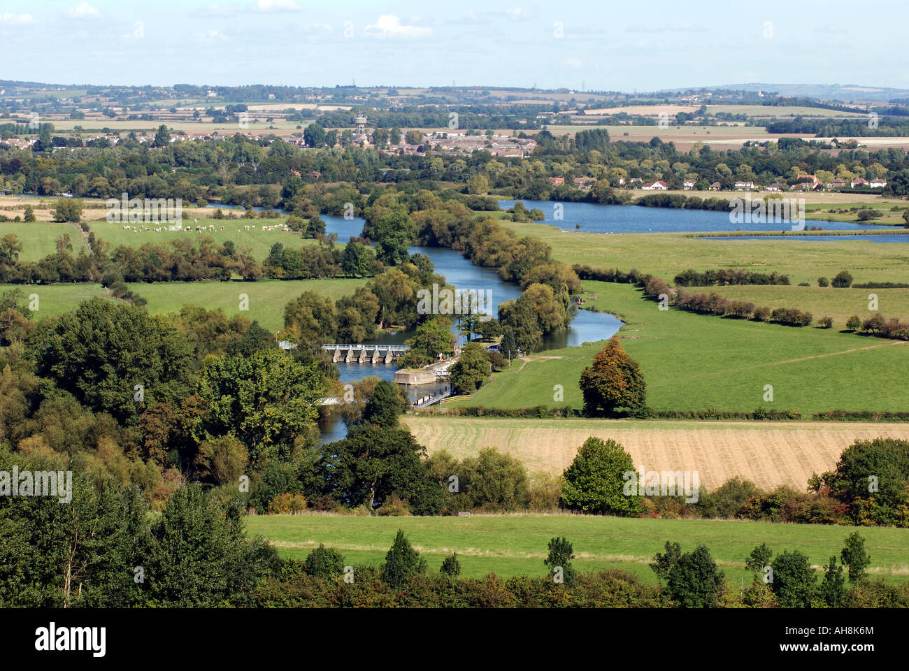 View over River Thames at Day`s Lock from Wittenham Clumps, Oxfordshire, England, UK Stock Photo