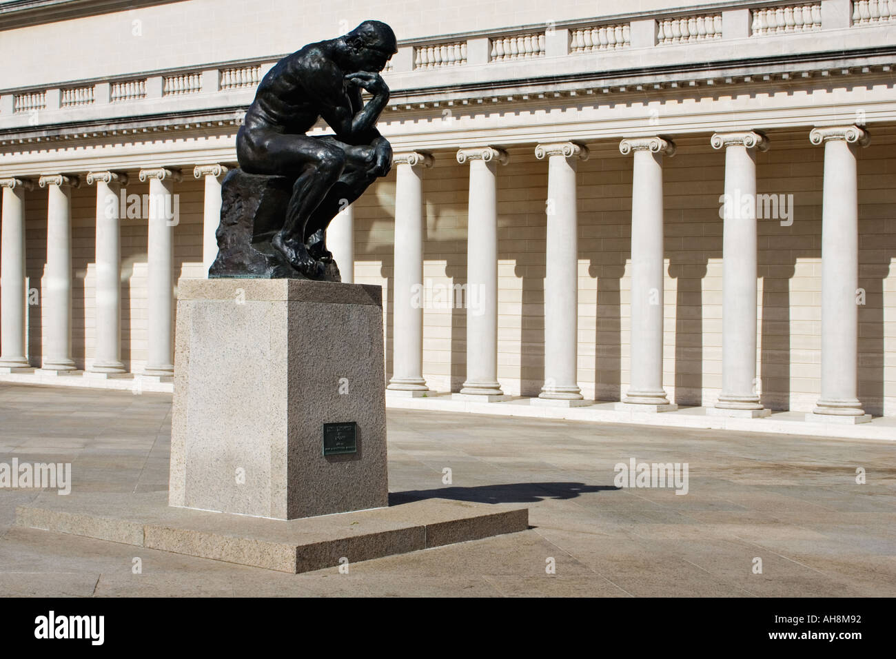 Auguste Rodin s The Thinker in the courtyard at the California Palace of the Legion of Honor in Lincoln park California. - Stock Image