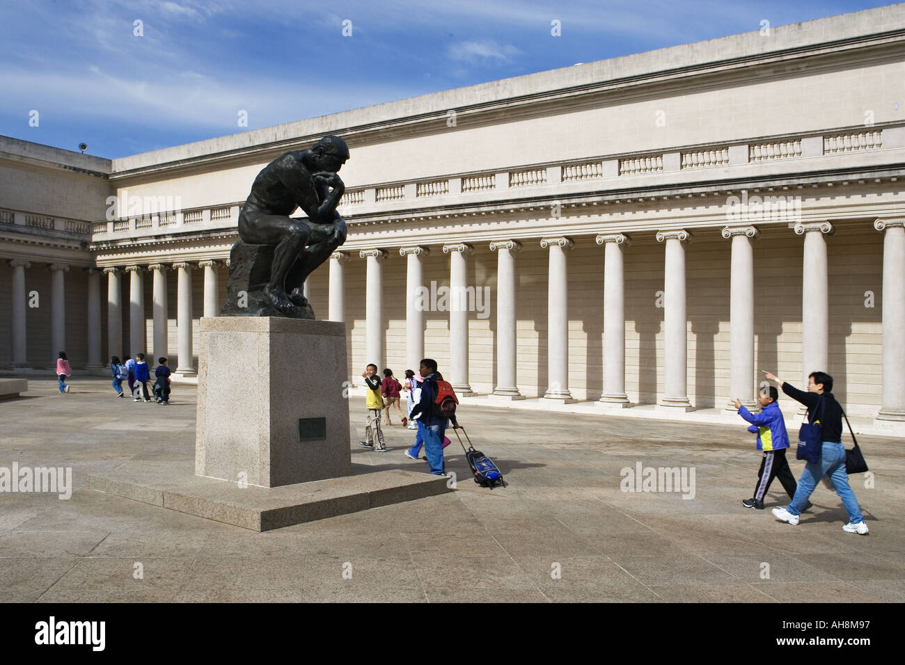 Auguste Rodin s the Thinker in the courtyard of the California palace of the Legion of Honor in Lincoln park San Francisco Ca - Stock Image