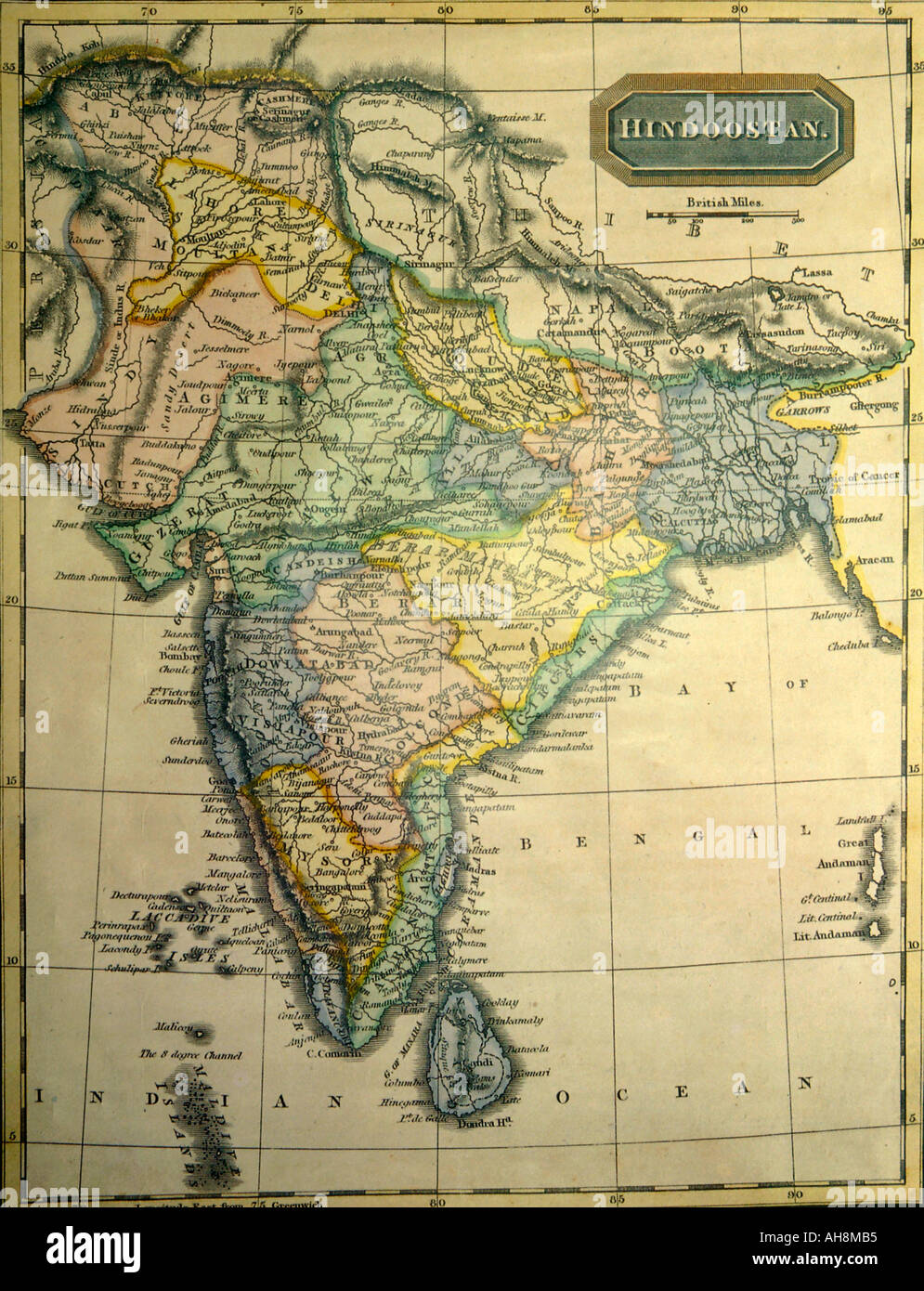 Old India Map AAD71499 Old Indian map showing India Indian Ocean Stock Photo