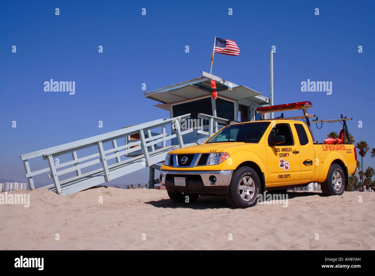 Lifeguard hut Venice Beach Stock Photo