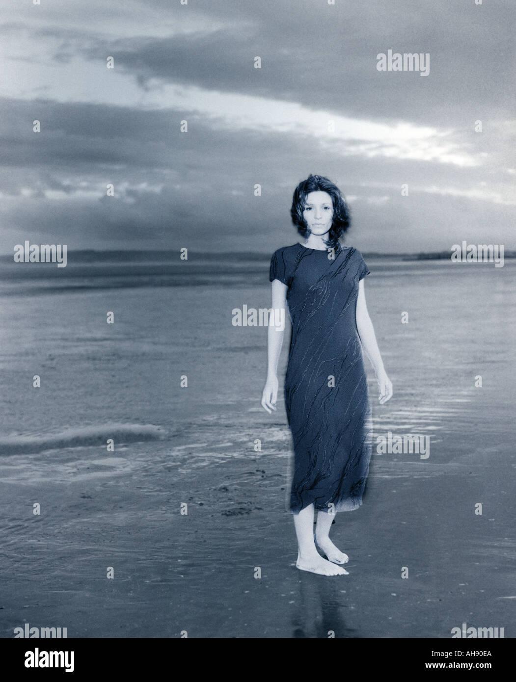 Ghost on beach - Stock Image