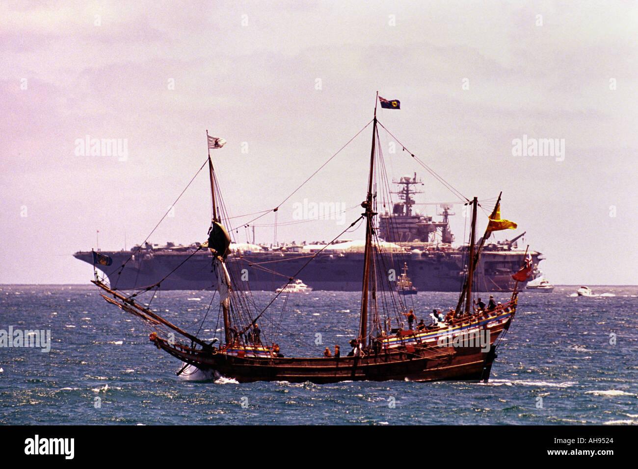 Abraham Lincoln carrier and Duvken replica Fremantle Western Australia - Stock Image