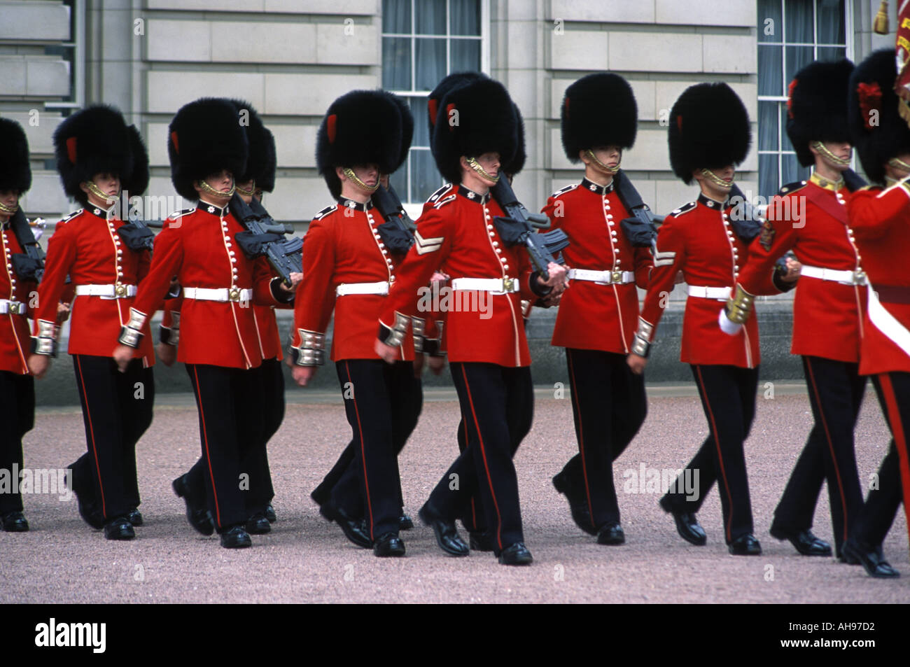 The Changing of the Guard outside Buchingham Palace in London Stock Photo