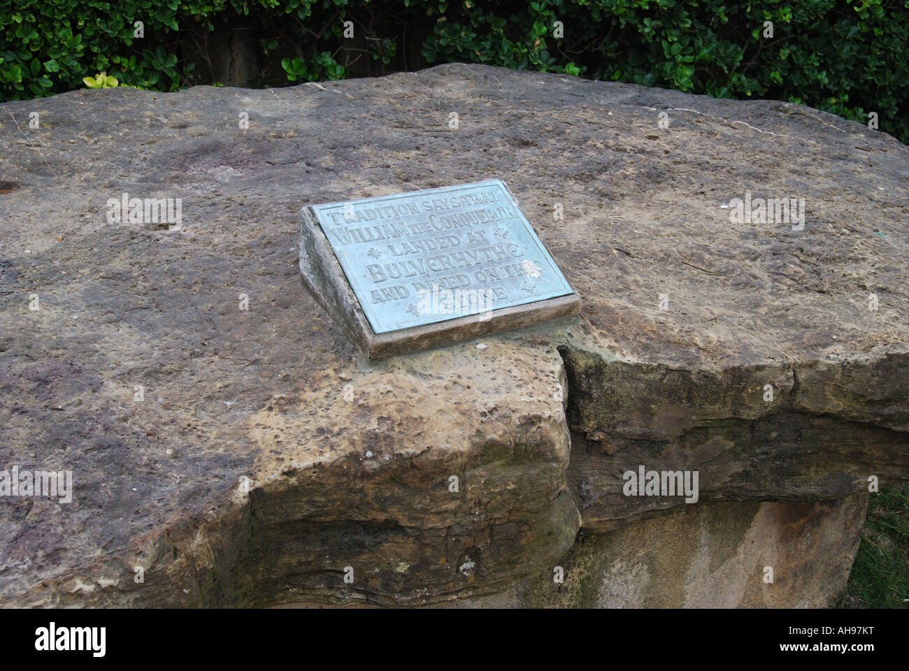 Stone table on which William the Conqueror dined, Bulverhythe, Hastings, East Sussex, England, United Kingdom - Stock Image