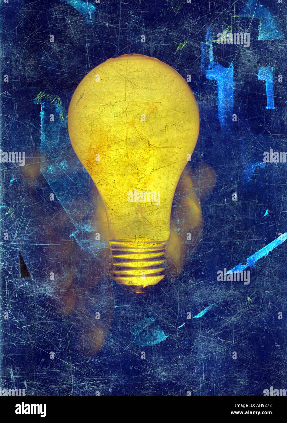 Illustration light bulb idea painting - Stock Image