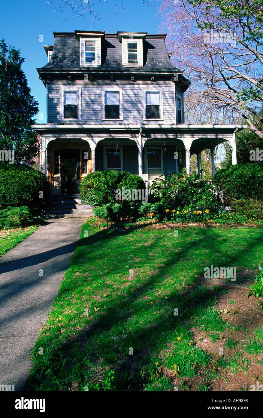 Victorian style wood house, Boston, Massachusetts - Stock Image