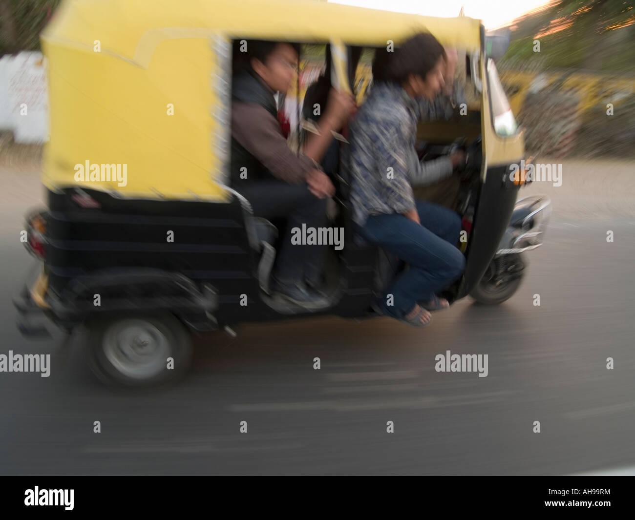 Three wheeled motorized taxi - Stock Image