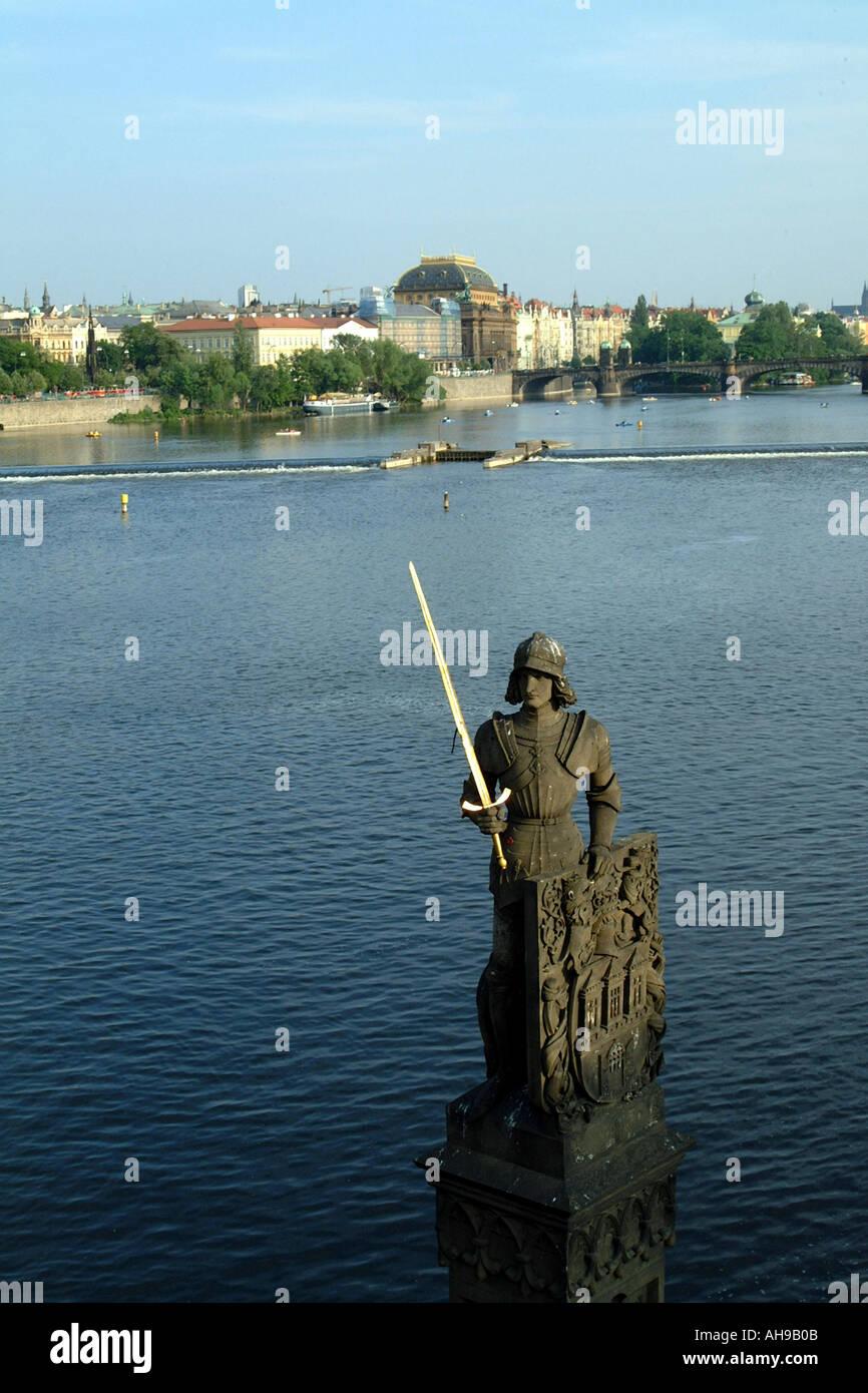Prague Czech Republic Europe Statue of Bruncvik Holding Golden Sword Kampa Island Stock Photo