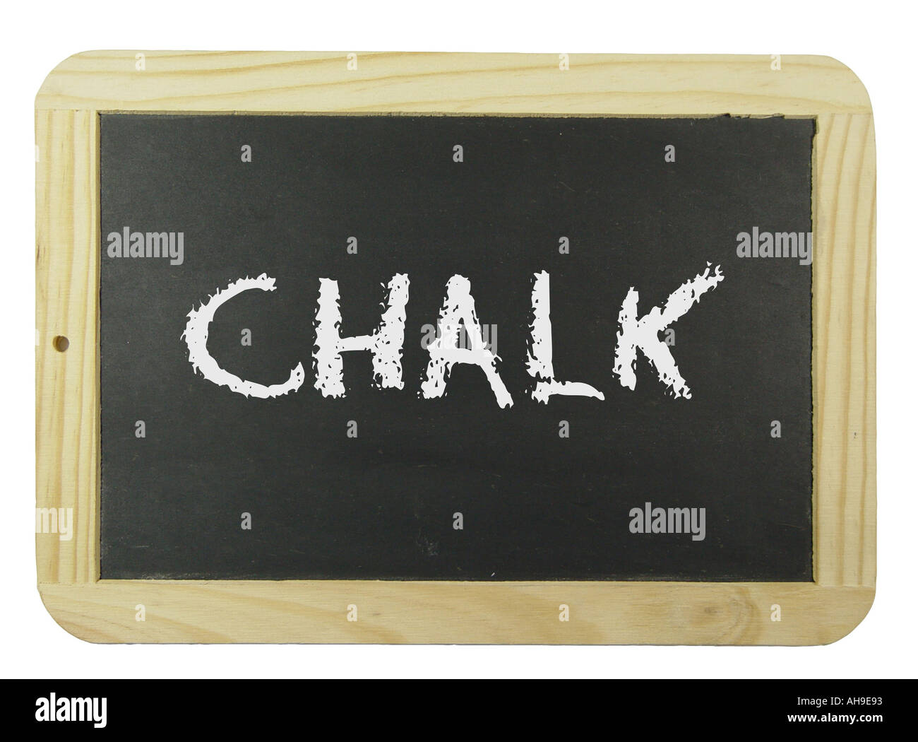 Chalk board with the label chalk Symbol for school learning and instruction Stock Photo