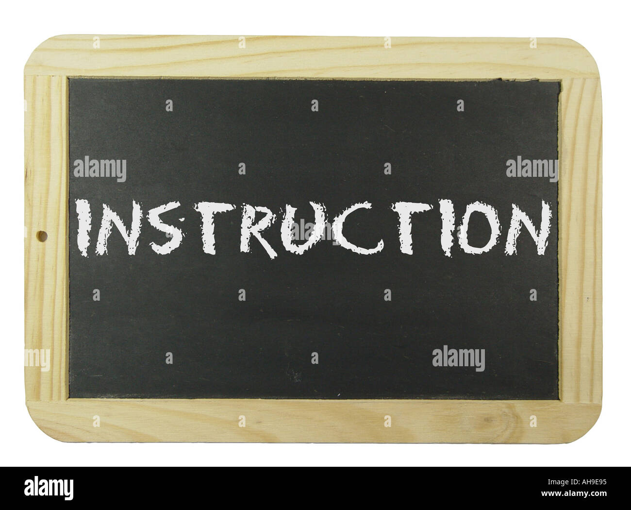 Chalk board with the label Instruction Symbol for school learning and instruction Stock Photo