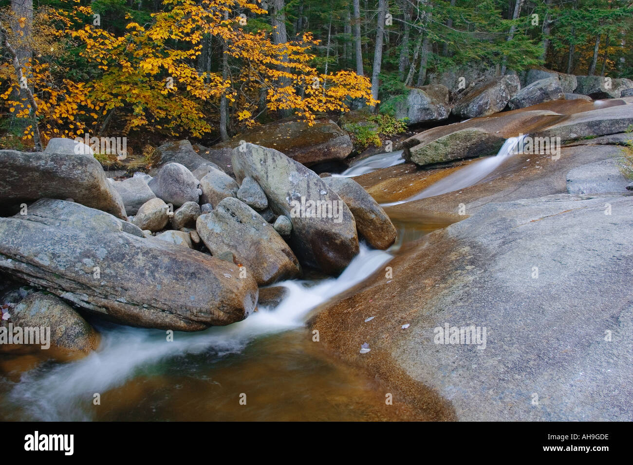 Diana s Bath s surrounded by Autumn Color New Hampshire - Stock Image