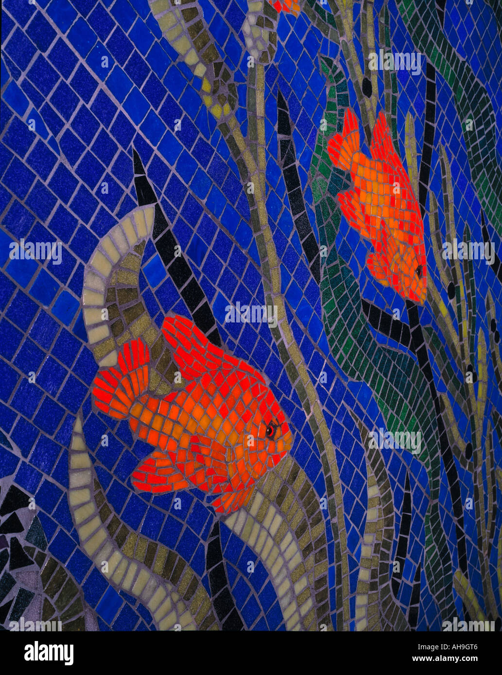 Architectural detail - Undersea fish mosaic on private house bathroom - Stock Image