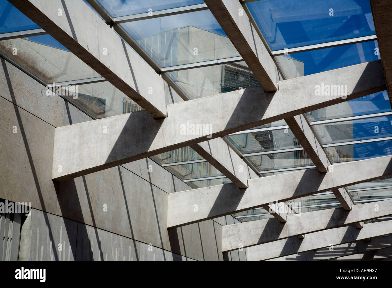 Architectural Detail Glass And Concrete Canopy At The Entrance To Stock Photo Alamy