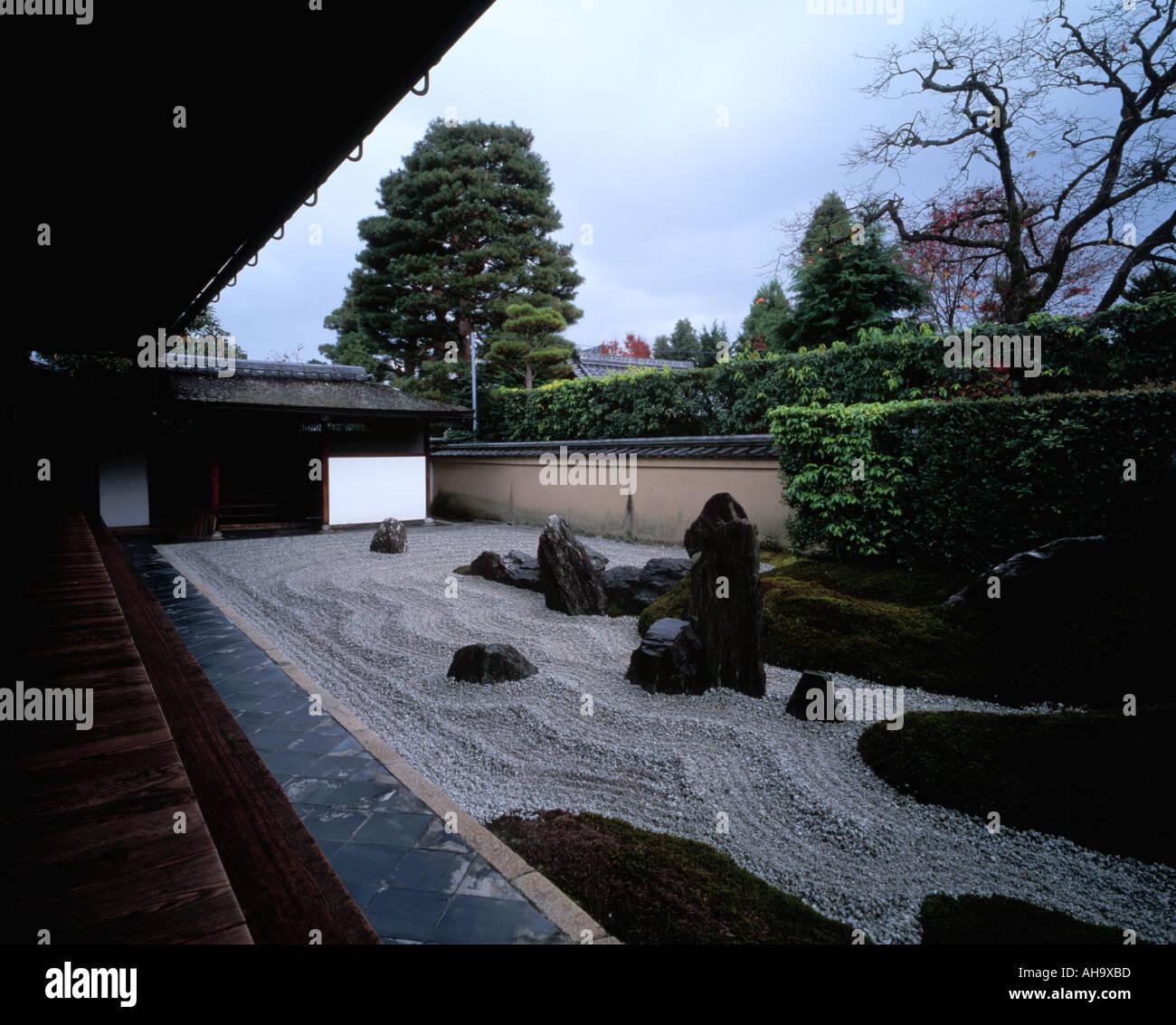 Zen garden in Daitokuji Temple Kyoto Japan - Stock Image