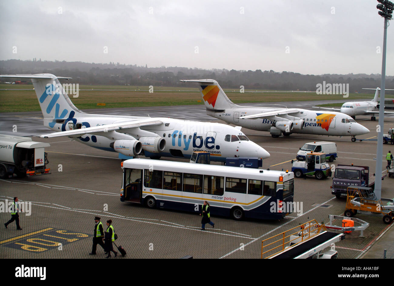 Flybe BAc 146 Aircraft on the apron at Southampton Airport Hampshire England UK - Stock Image