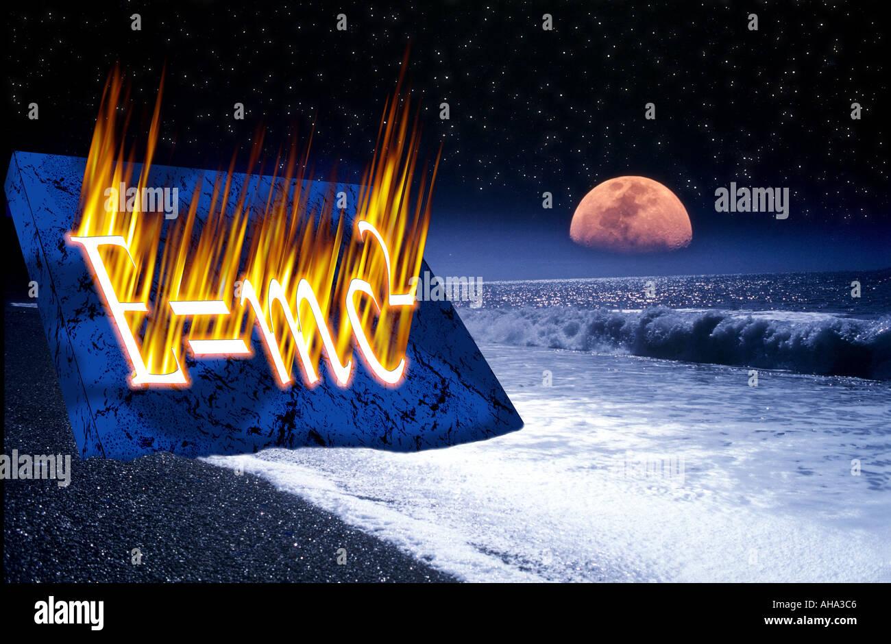 concept moonrise over waves breaking deserted beach with star lit sky Albert Einstein equation E mc2 burnt into Stock Photo