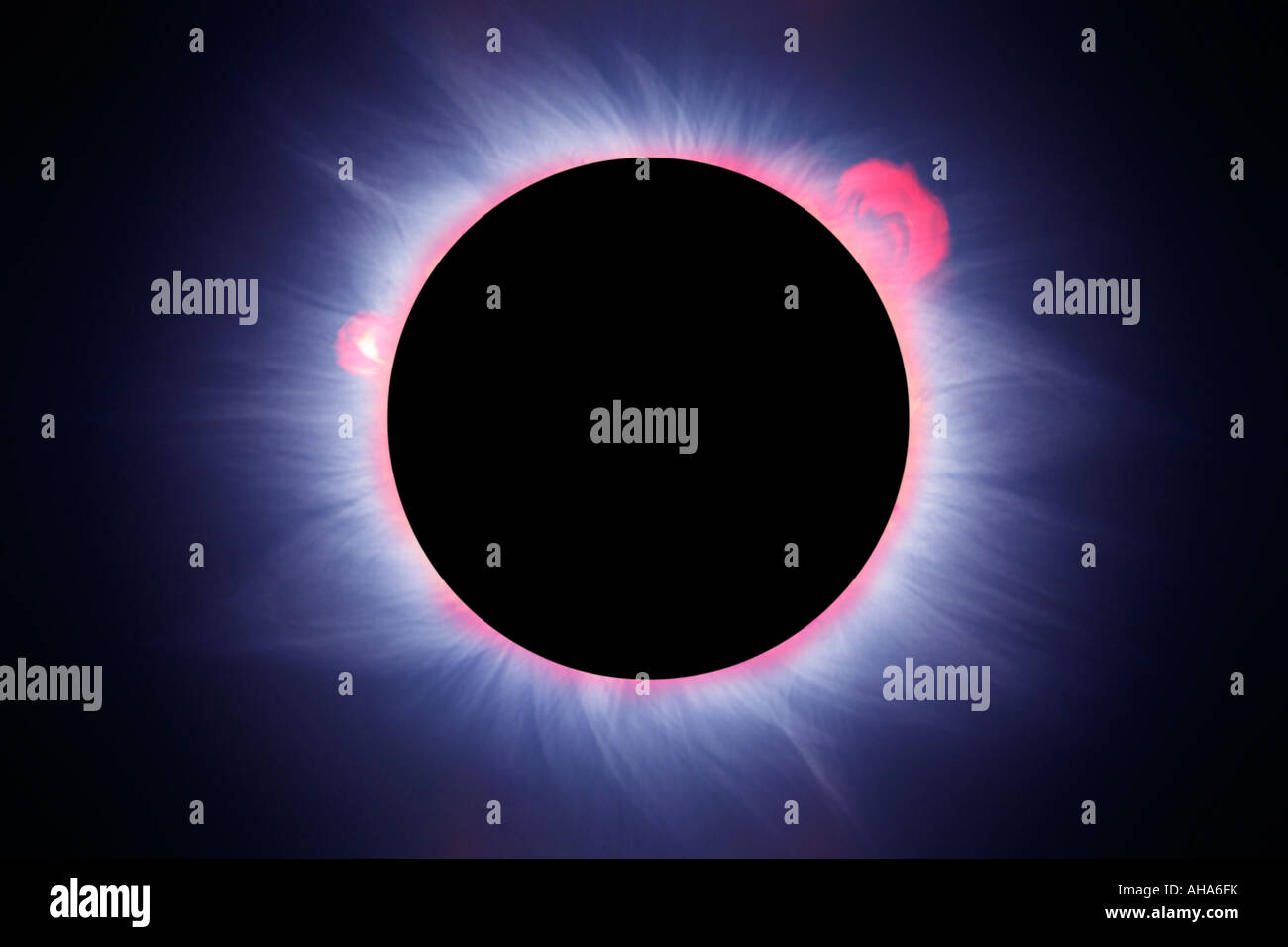 Reconstruction very realistic of a solar eclipse - Stock Image