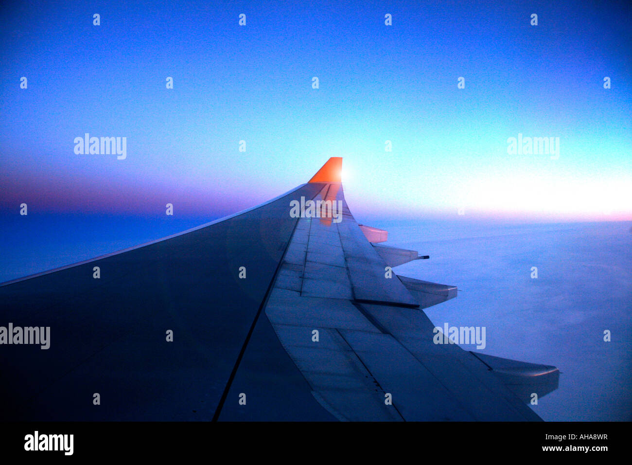 view out of an Aeroplane window - Stock Image