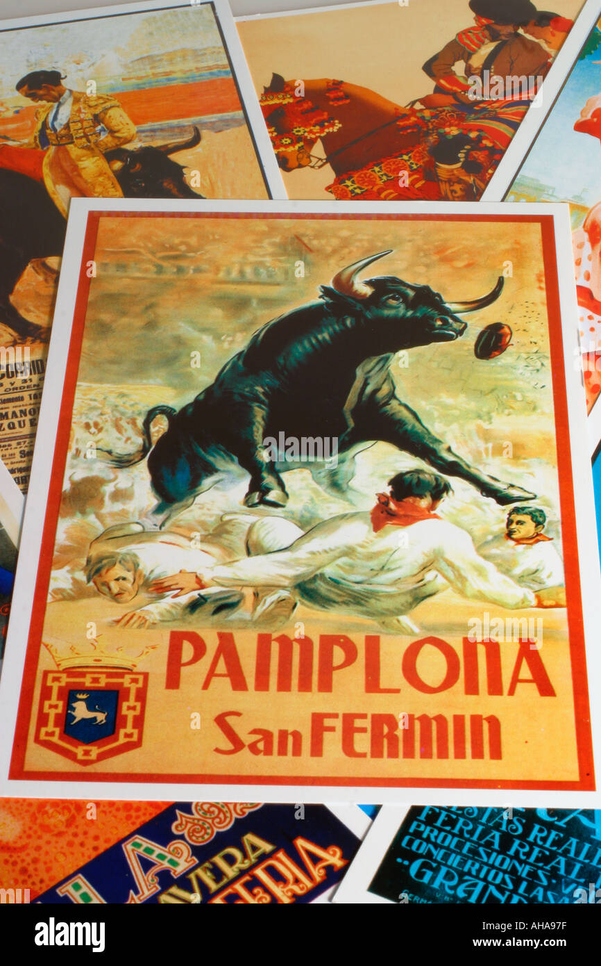 Spain Postcard of old Pamplona Sanfermines poster - Stock Image