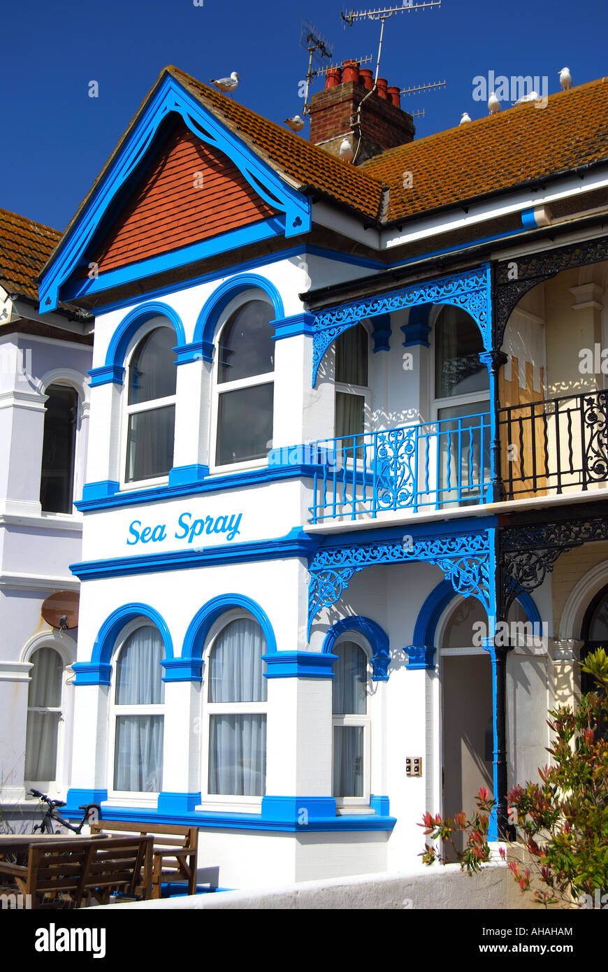 New Brighton Guest Bath: Colourful Guest Houses Worthing Seafront Stock Photos