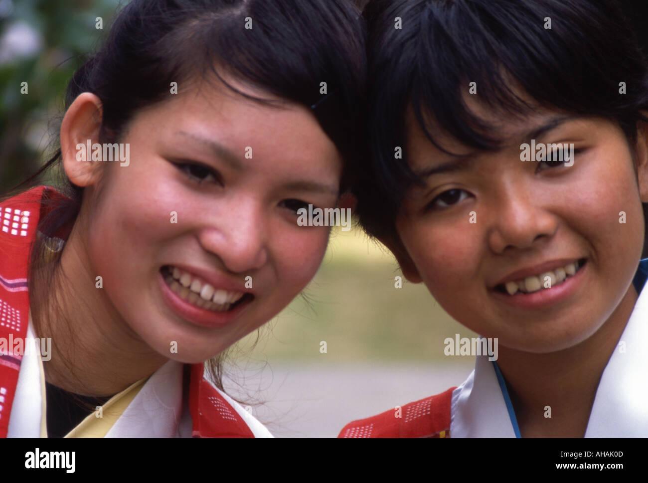 okinawan girls in festival costume at eisa festival stock photo