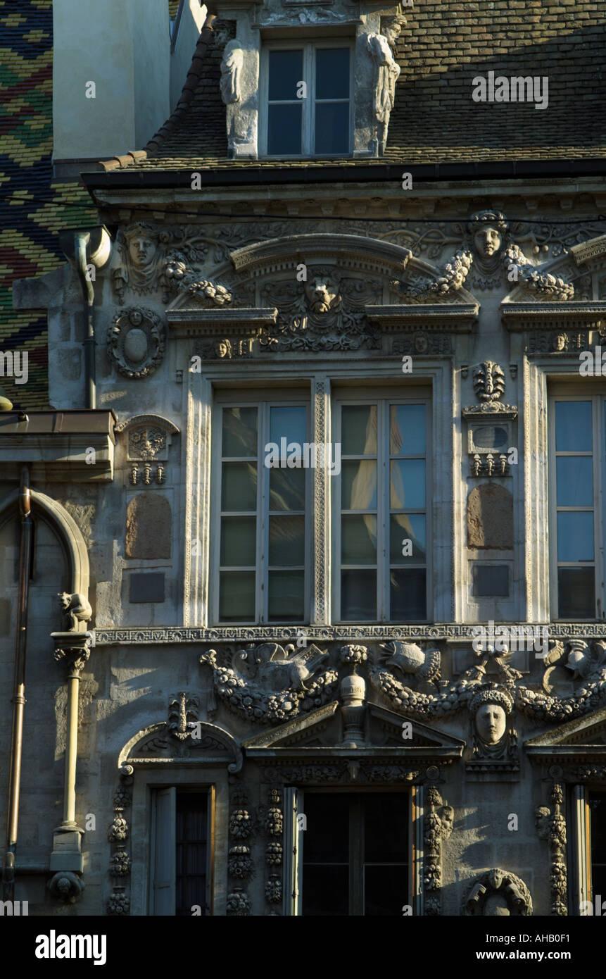 France Cote d Or Dijon elaborate building decoration windows C