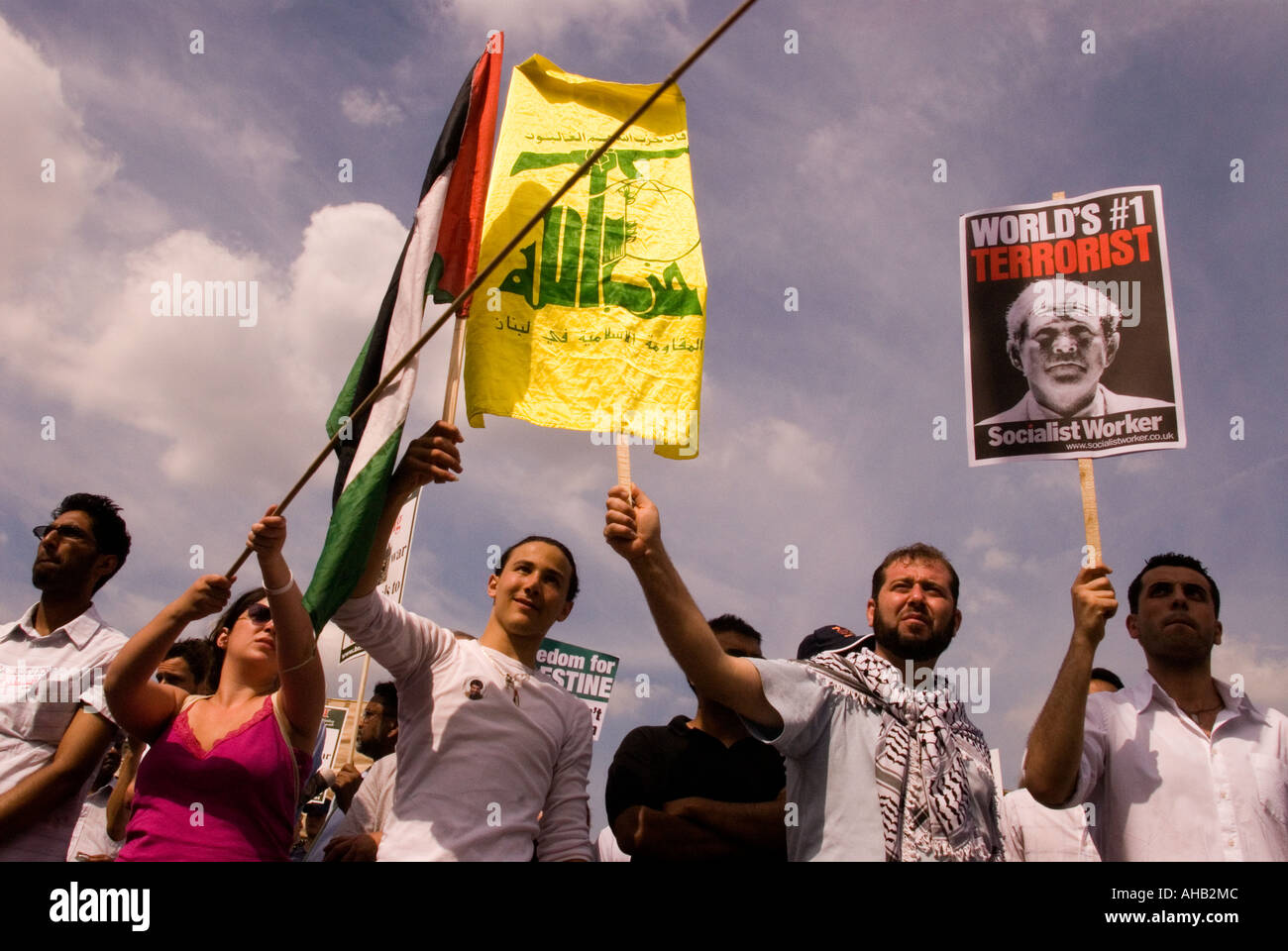 Stop the War Demo, march and protest against the war in Lebanon with Israel, London, UK. 5 August 2006. - Stock Image