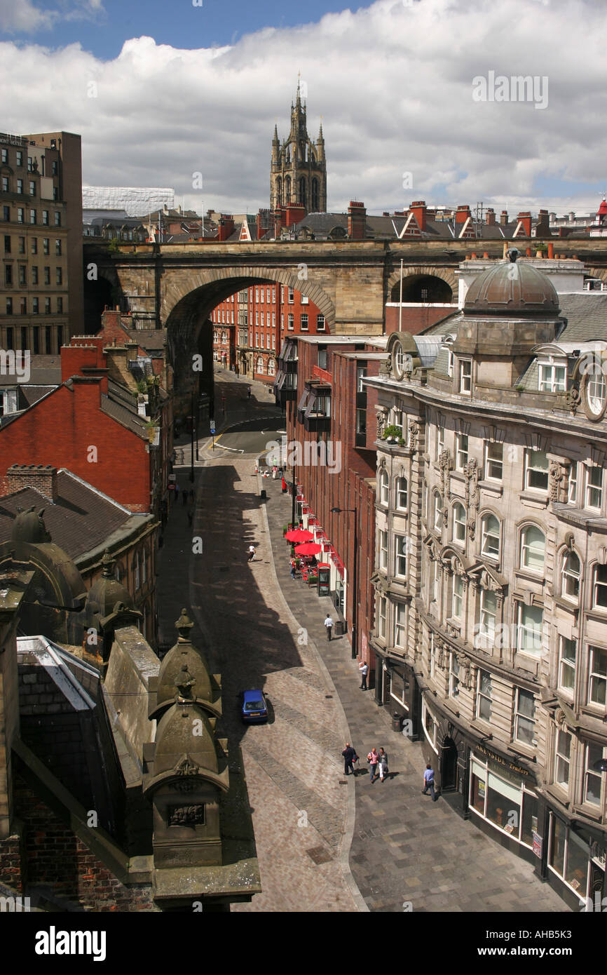 view from the Tyne Bridge of Side leading through into Dean Street Newcastle Upon Tyne United Kingdom - Stock Image