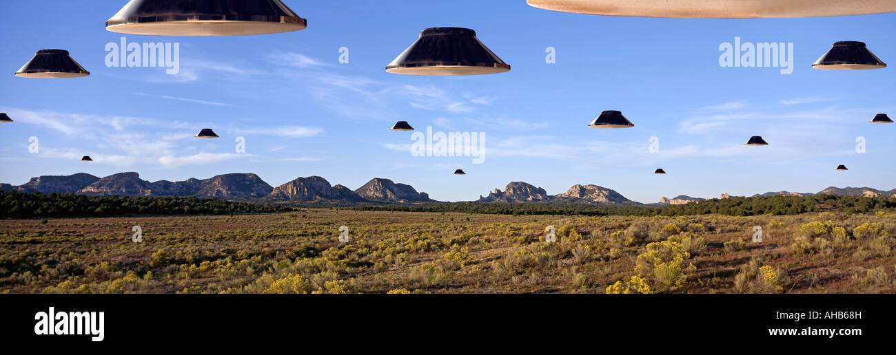 UFO Invasion over the Plains of San Augustine New Mexico USA Stock Photo