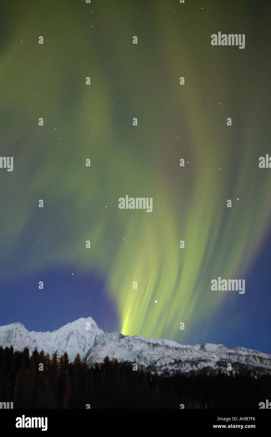 Northern Lights or Aurora Borealis over Mt Alice and the Chugach National Forest near Seward Alaska - Stock Image