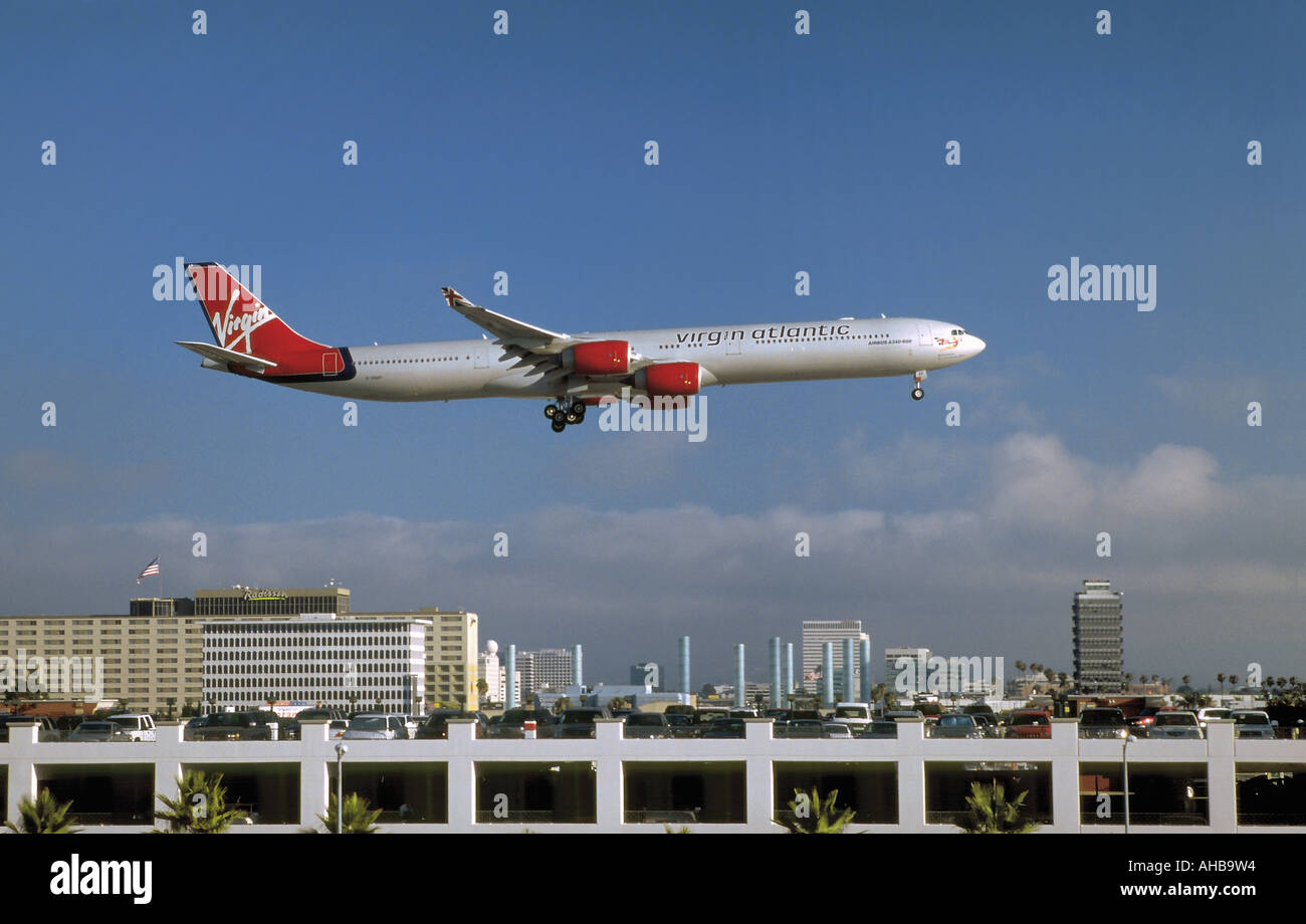 A Virgin Atlantic Airbus 340-600 seconds before touch down at LAX, California - Stock Image